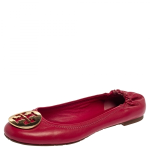 Tory Burch Magenta Leather Reva Scrunch Ballet Flats Size 38 - used
