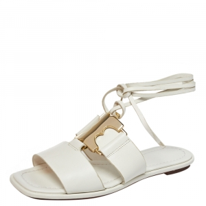 Tory Burch White Leather Gemini Ankle Wrap Flats Size 36.5