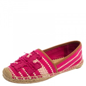 Tory Burch Pink/White Canvas And Leather Espadrille Size 38 - used