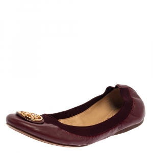 Tory Burch Burgundy Leather Scrunch Ballet Flats Size 37.5 - used