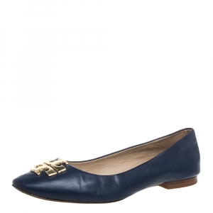 Tory Burch Navy Blue Leather Ballet Flats Size 38 - used