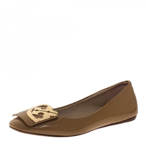 Tory Burch Beige Patent Leather Square Logo Flat Size 35 - used