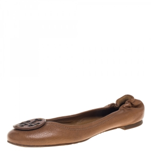 Tory Burch Tan Leather Scrunch Ballet Flats Size 38 - used