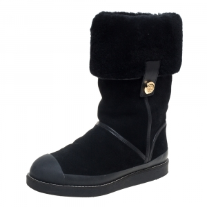 Tory Burch Black Suede And Fur Ankle Boots Size 37 - used