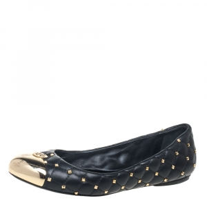 Tory Burch Black Leather Kaitlin Cap Toe Ballet Flats Size 37 - used