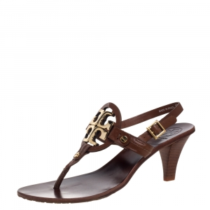 Tory Burch Tan Leather Logo Thong Slingbck Sandals Size 36.5 - used