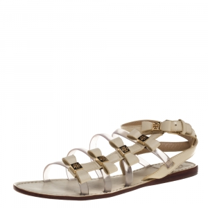 Tory Burch Cream Leather And PVC Gladiator Flat Sandals Size 38 - used