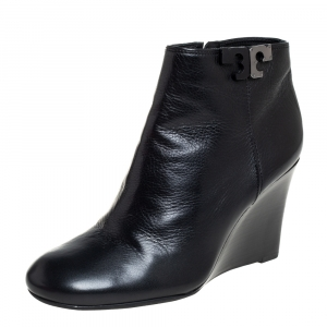 Tory Burch Black Leather Lowell Wedge Ankle Boots Size 37 - used
