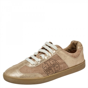 Tory Burch Beige/Gold Suede And Leather Perforated Logo Lace Up Sneakers Size 40 - used