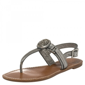 Tory Burch Metallic Silver Leather Thong Sandals Size 37 - used