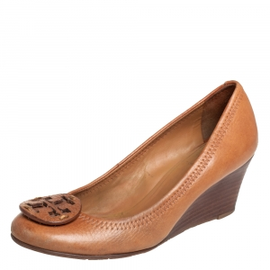 Tory Burch Tan Leather Sally Wedge Pumps Size 35