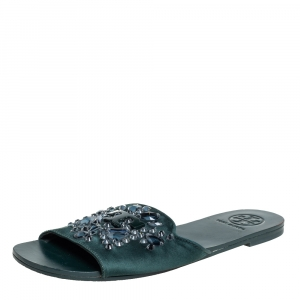 Tory Burch Green Satin Crystal Embellished Slide Sandals Size 37