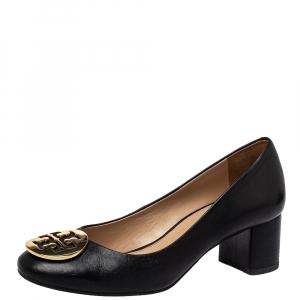 Tory Burch Black Leather Janey Block Heel Pumps Size 36.5