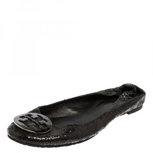 Tory Burch Black Glitter Logo Ballet Flats Size 41