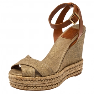 Tory Burch Gold Canvas Espadrille Wedge Sandals Size 38