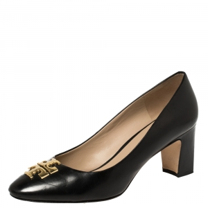 Tory Burch Black Leather Raleigh Block Heel Pumps Size 40