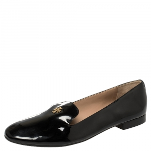 Tory Burch Black Patent Leather Smoking Slippers Size 40.5