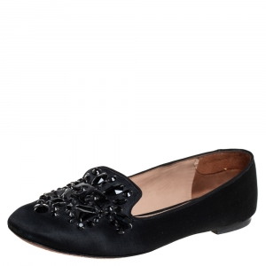 Tory Burch Black Satin Slip On Loafers Size 37