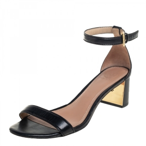 Tory Burch Black Leather Block Heel Ankle Strap Sandals Size 38 - used