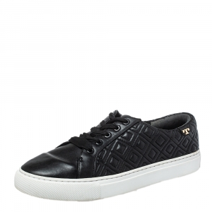 Tory Burch Black Quilted Leather Low Top Sneakers Size 38.5