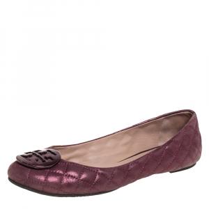 Tory Burch Metallic Pink Fabric Reva Ballet Flats Size 41 - used