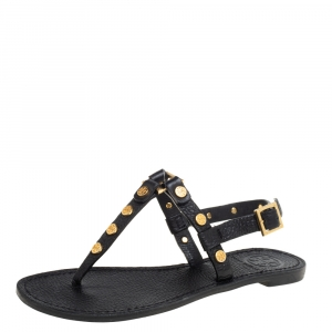 Tory Burch Black Leather Studded Thong Slingback Sandals Size 35.5 - used