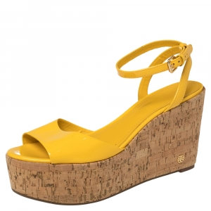 Tory Burch Yellow Patent Leather Dahlia Wedge Sandals Size 38.5 - used