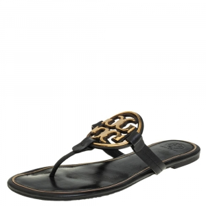 Tory Burch Black/Gold Leather Miller Flat Thong Sandals Size 41