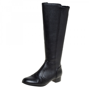 Tory Burch Black Leather Mid Calf Boots Size 35 - used