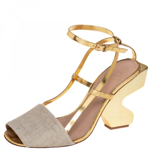Tory Burch Beige/Gold Leather and Canvas Curio Sandals Size 38