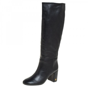 Tory Burch Black Leather Knee Length Boots Size 36 - used
