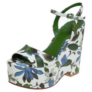 Tory Burch Multicolor Floral Print Leather Ankle Strap Wedge Sandals Size 35.5 - used