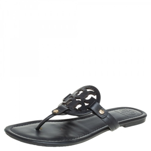 Tory Burch Black Leather Miller Flat Thong Sandals Size 39 - used