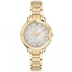 ساعة يد نسائية تروساردي هيكيت ستانلس مطلي ذهب ستيل بيضاء 32مم