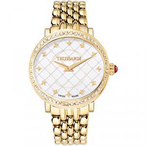 ساعة يد نسائية تروساردي ثاليا ستانلس ستيل مطلي ذهبي بيضاء 38مم