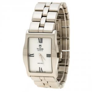 Tudor White Stainless Steel Archeo 30200 Women's Wristwatch 22 mm