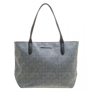 Tumi Grey Canvas Coated and Leather Trim Tote