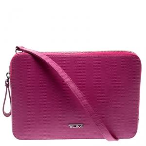 Tumi Pink Leather Slim Zip Crossbody Bag