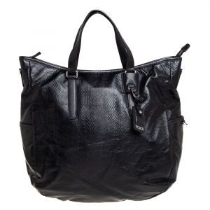 TUMI Black Python Effect Coated Fabric Lucerne Tote