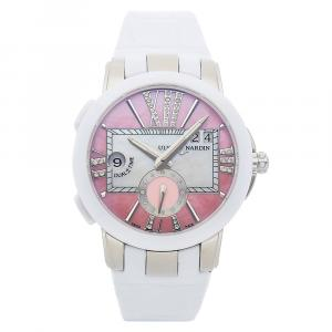 Ulysse Nardin Pink Diamonds Stainless Steel Executive Dual Time Lady 243-10/397 Women's Wristwatch 40 MM