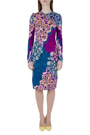 Peter Pilotto Multicolor Marine Print Jersey Long Sleeve Bodycon Dress S - used