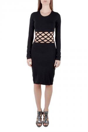 Jean Paul Gaultier Soleil Black Cotton Jersey Distressed Waist Bodycon Dress S - used