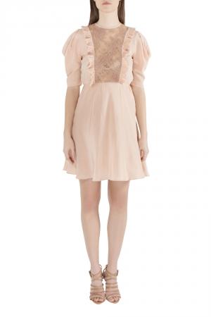 Miu Miu Beige Silk Lace Insert Pleated Ruffle Trim Dress S - used