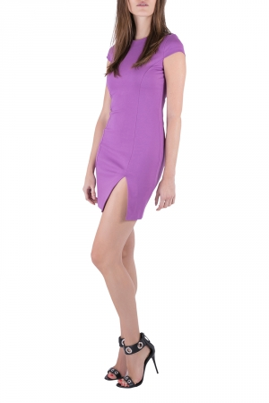 Dsquared2 Purple Jersey Paneled Cap Sleeve Slit Detail Fitted Dress M - used