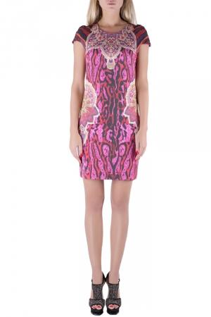Just Cavalli Multicolor Leopard Print Cap Sleeve Shift Dress L