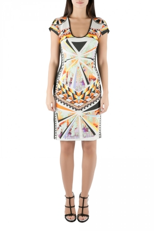 Just Cavalli Multicolor Aztec Print Stretch Knit Scoop Neck Bodycon Dress M - used