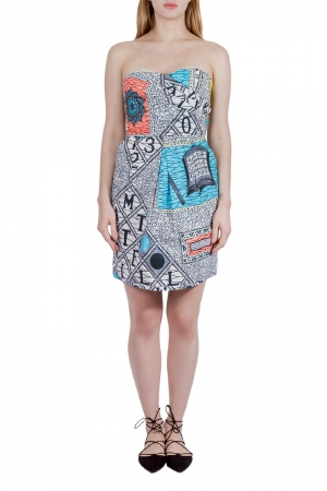 Matthew Williamson Multicolor Abstract Print Cotton Strapless Dress M - used