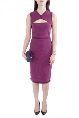 Narciso Rodriguez Purple Silk Knit Cut Out Yoke Sleeveless Sheath Dress S - used