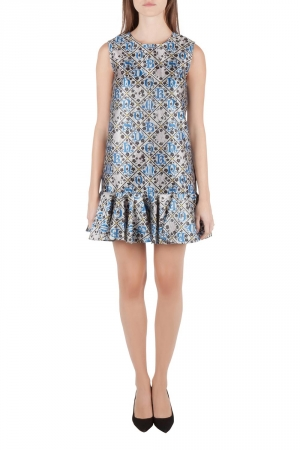 Mary Katrantzou Silver and Blue Metallic Drop Waist Jaspa Dress S - used