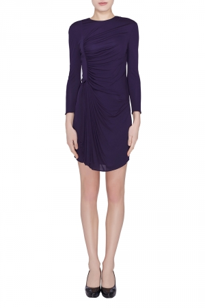 3.1 Phillip Lim Purple Jersey Ruched Front Draped Long Sleeve Dress XS - used